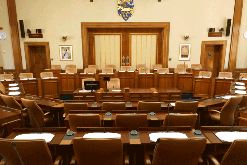 audio visual hardware in council chamber