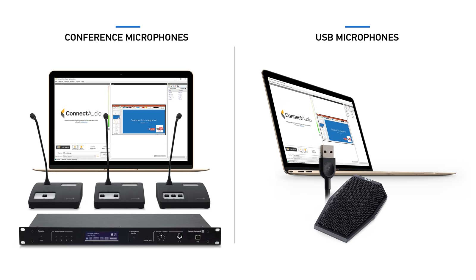 Two screens side-by-side with different microphone systems demonstrating Public-i audio webcasting software