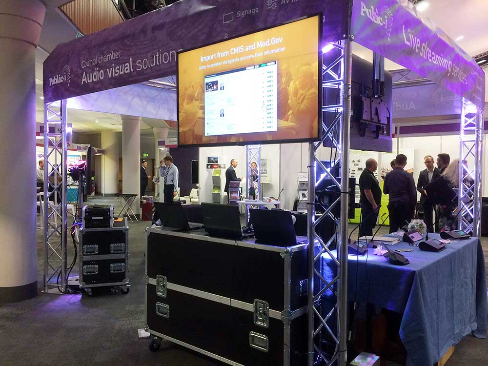 A conference stand with digital signage
