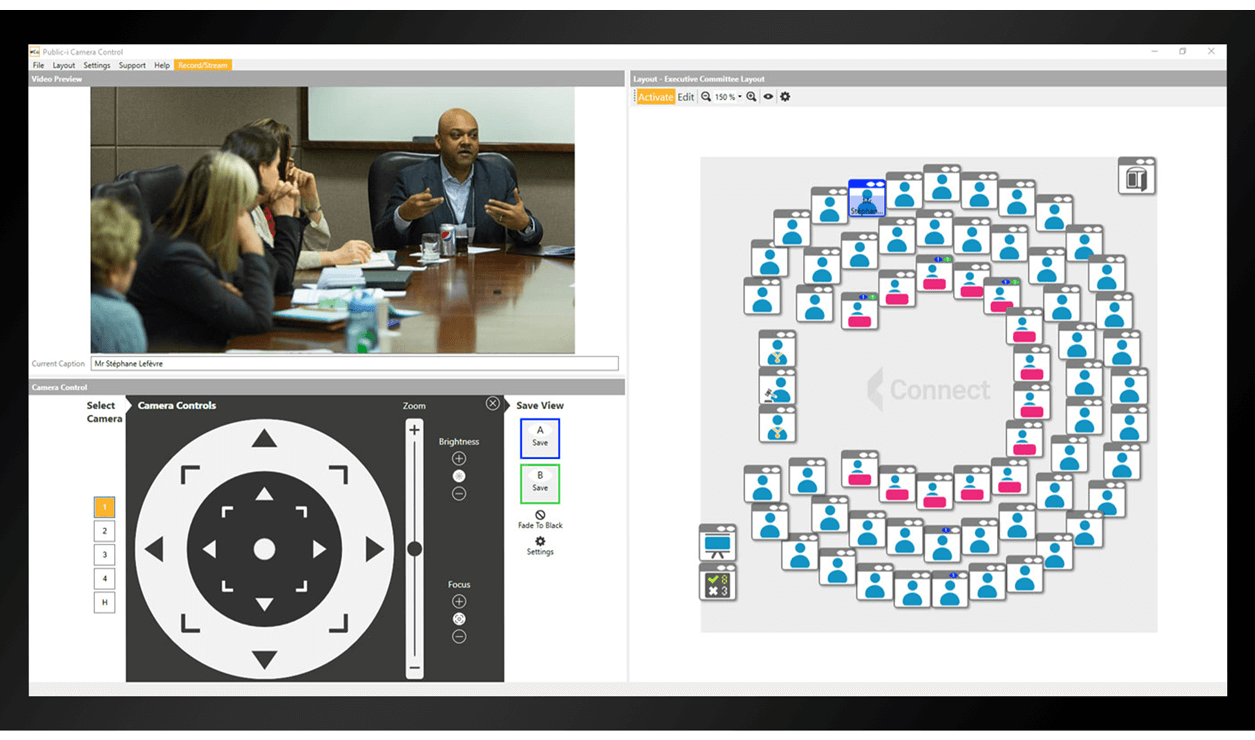 CameraControl screenshot showing Creston integration for meeting room layout and camera control