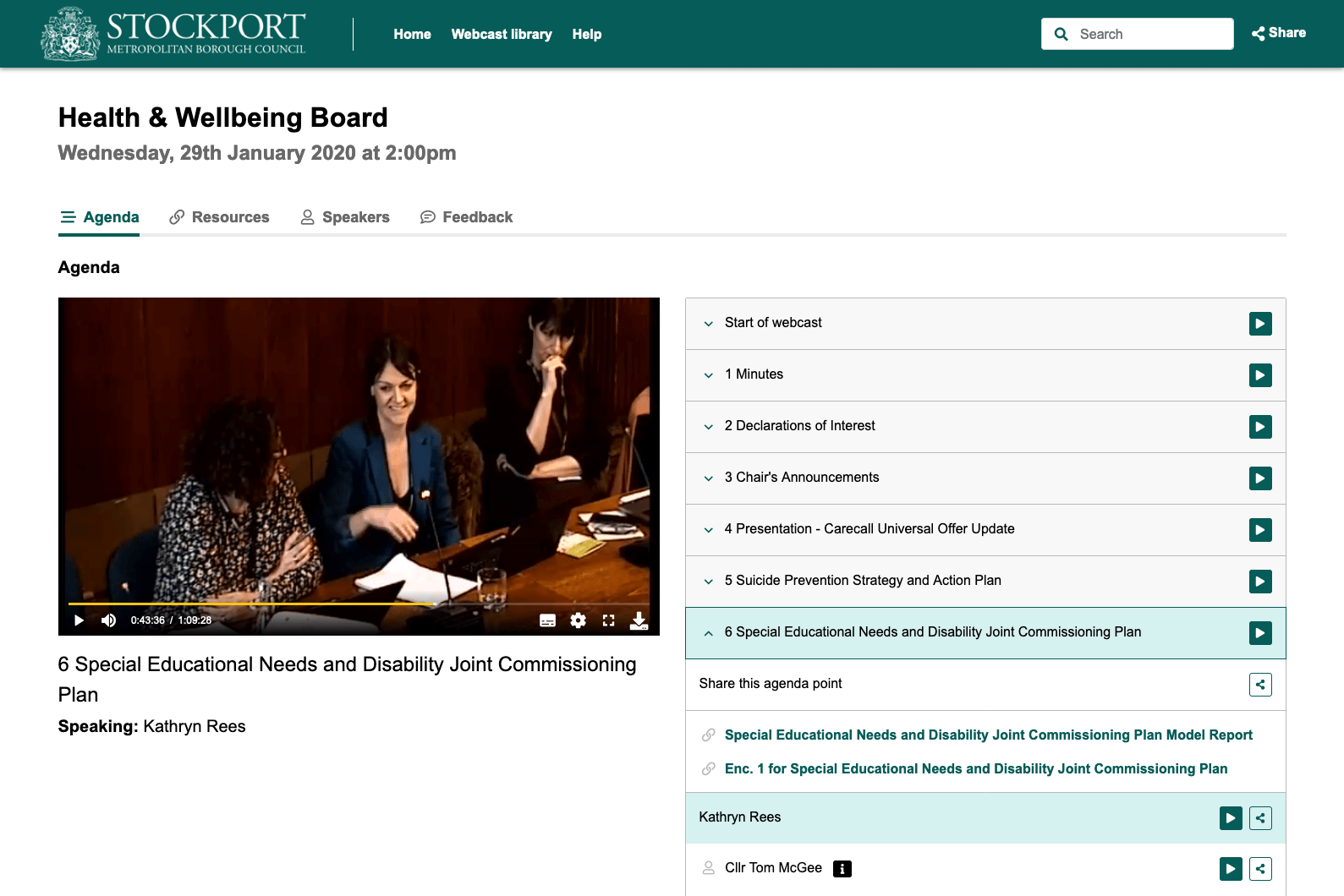 Stockport health and wellbeing board webcast