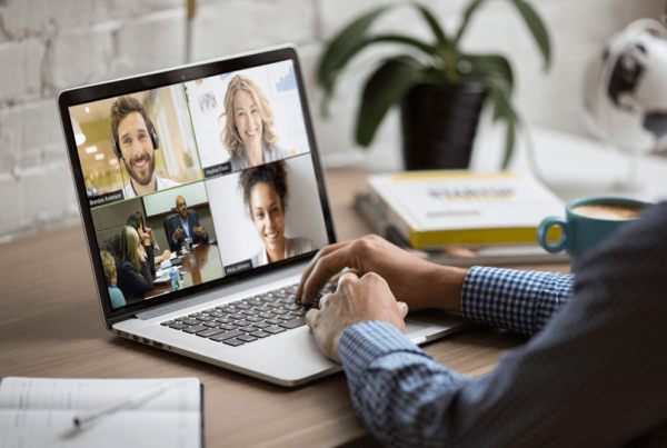 Person holding a remote meeting at home