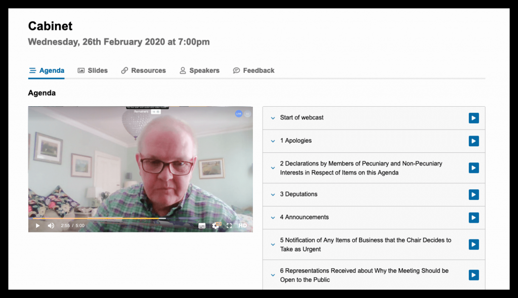 Connect player view of remote meeting