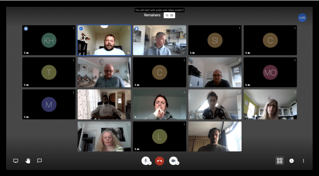 Moderator grid view of video conference