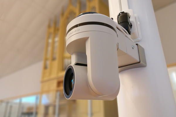 Avonic PTZ camera installed in a church