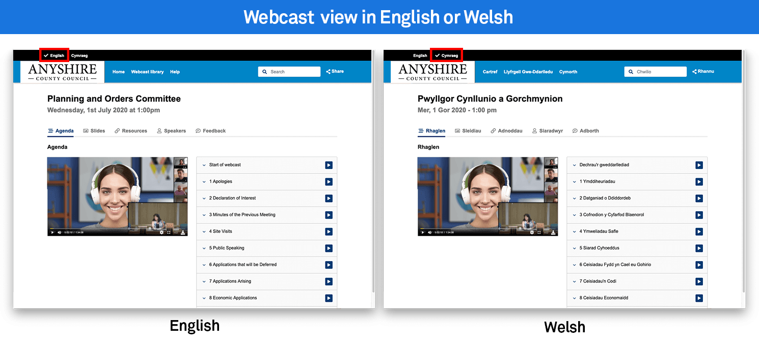 Webcast in both languages