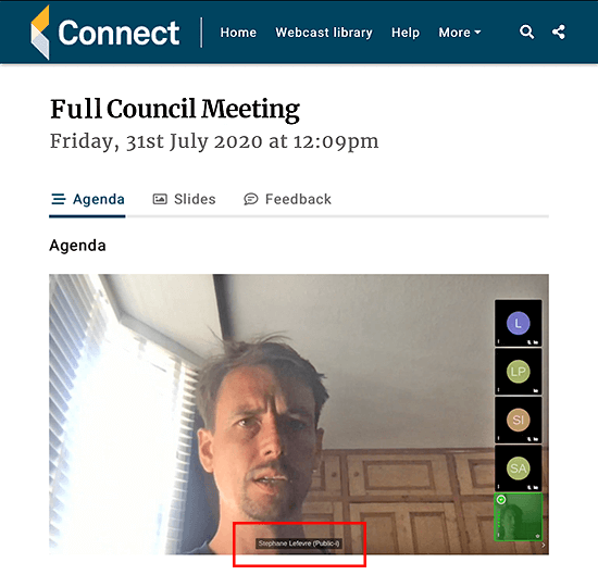 Live streaming of Connect Remote spotlight view
