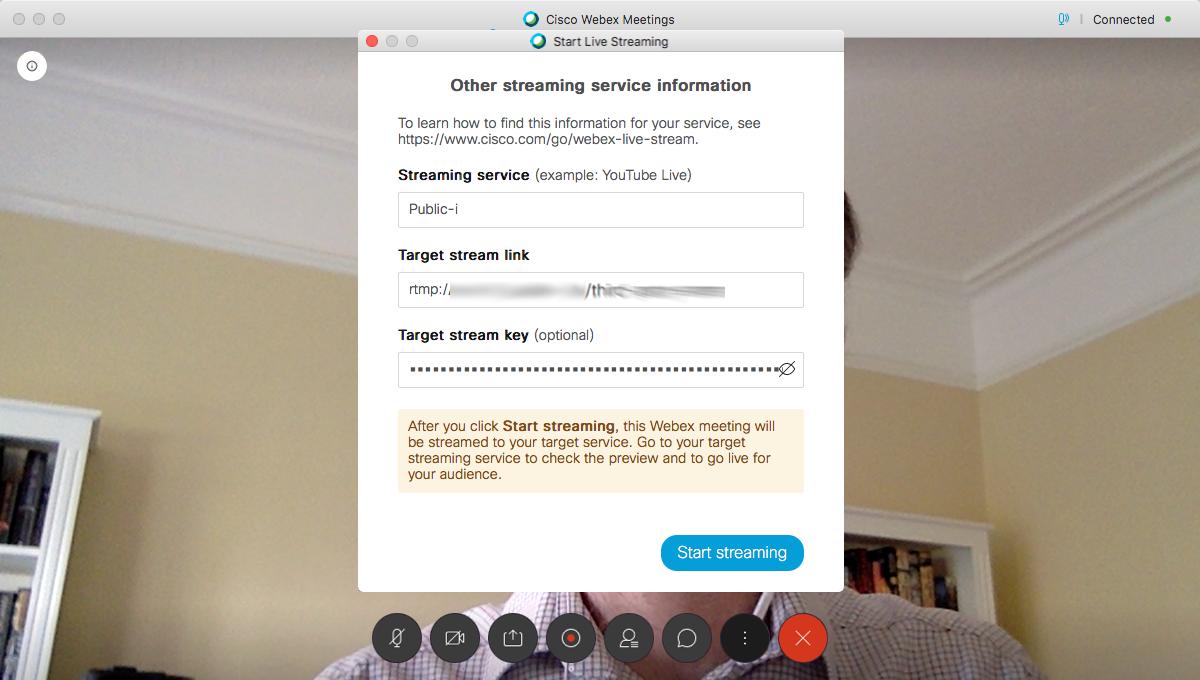 webex live streaming key